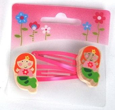 2 Pcs Wooden Kids Hair Clips  - Mermaid