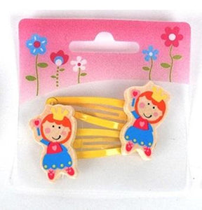 2 Pcs Wooden Kids Hair Clips  - Princess