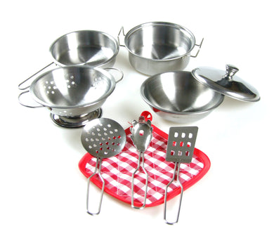 STAINLESS STEEL Cooking SET  Toys - 9 PCS