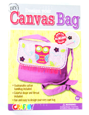 DIY Design Your Canvas Bag OWL Sewing Kit with safety needle