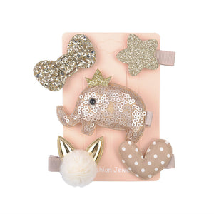 5 Pcs Kids Hair Clips (CHAMPAGNE GOLD elephant)