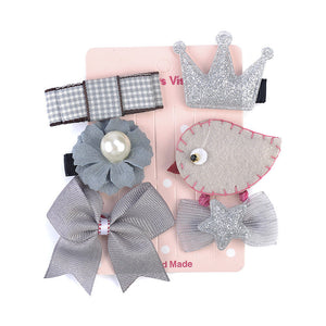 6 Pcs Kids Hair Clips (GREY Chick)