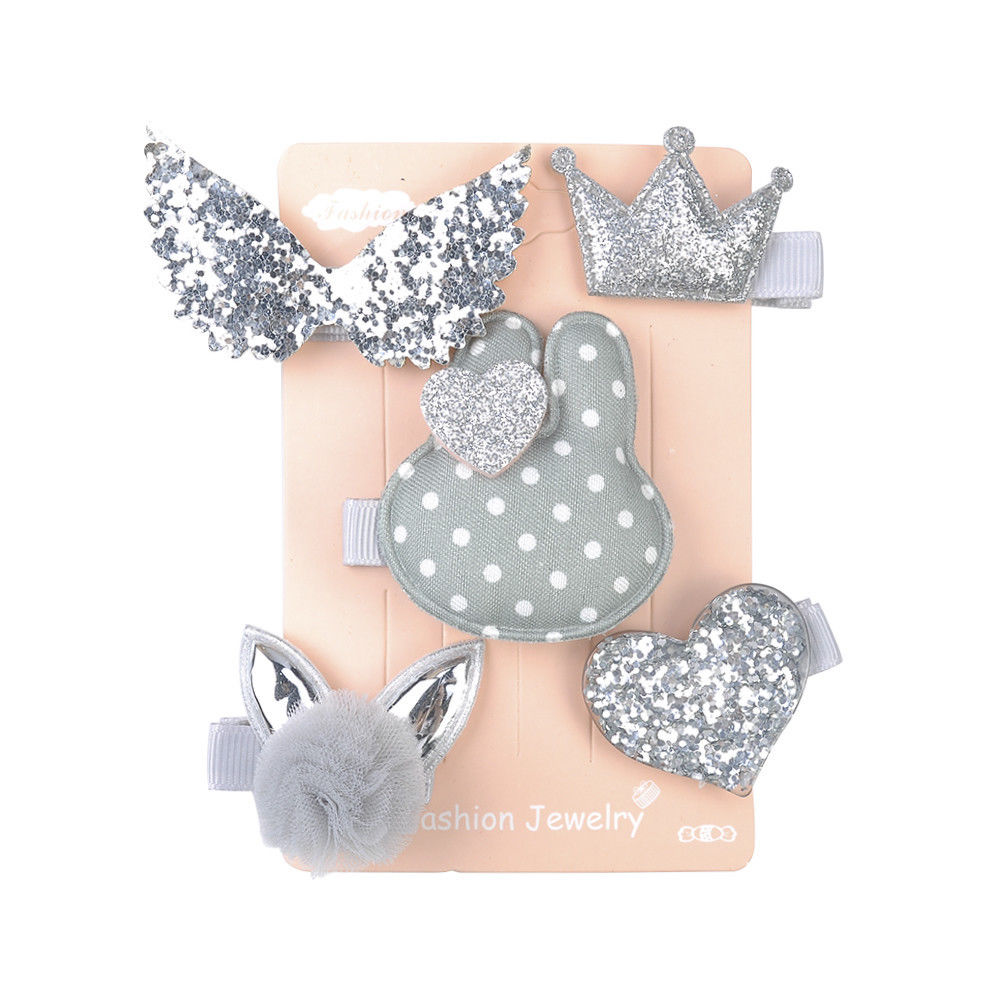 5 Pcs Kids Hair Clips (GREY Rabbit)