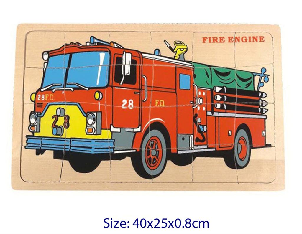 Fun Factory - 24 Pcs Wooden FIRE ENGINE Jigsaw Puzzle