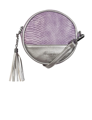 Round Kids Fashion Sling Bag - Rubika Snake Purple / Silver By Jessica Bratich