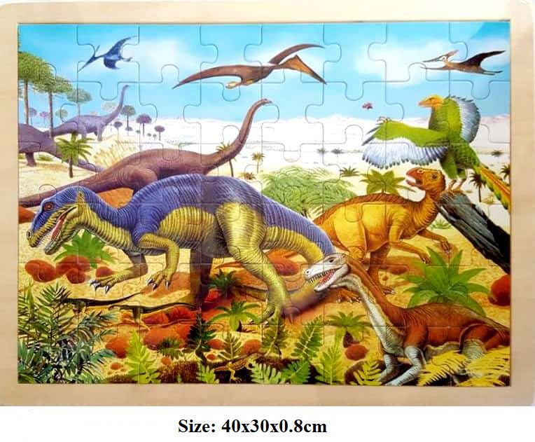 Fun Factory - 48 Pcs large Wooden DINOSAUR Jigsaw Puzzle