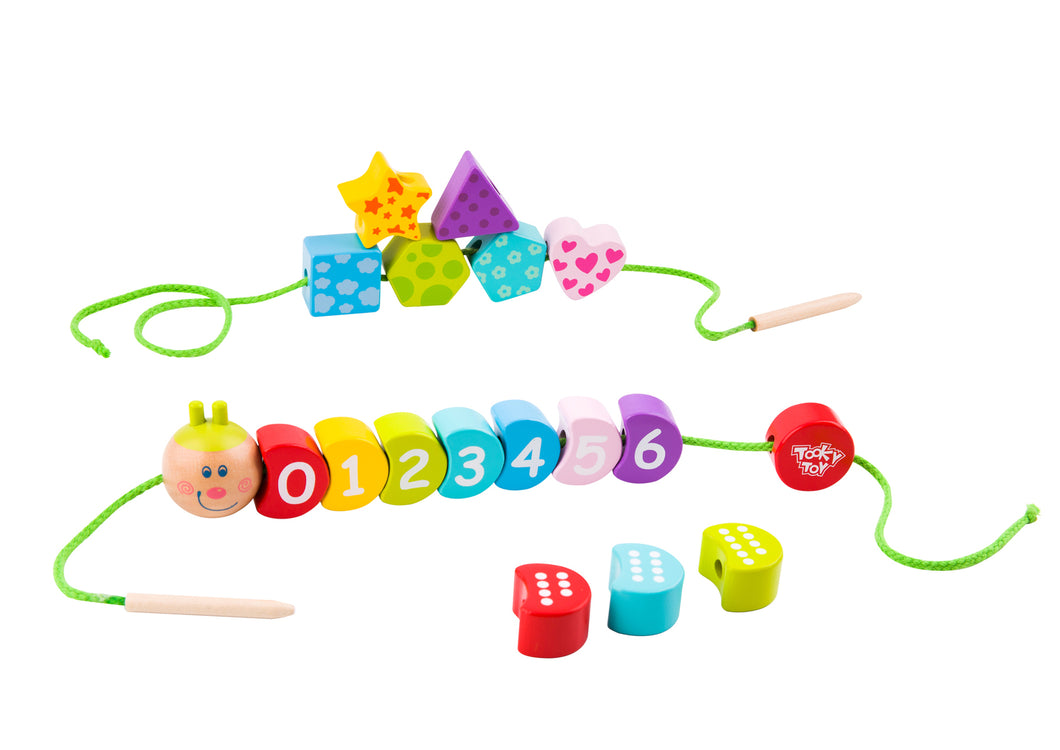 Tooky Toys-  Wooden Lacing Caterpillar