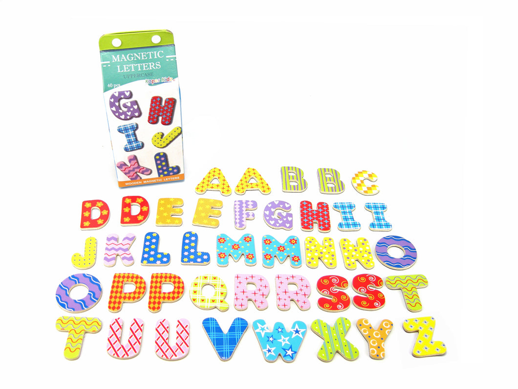 Kaper Kidz - 40 Pcs Wooden Magnetic Alphabet Letters UPPER CASE