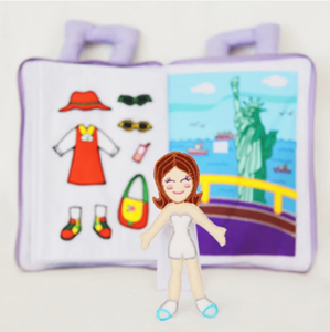 My Quiet Activity Cloth Book - My Dress Up Doll Tourist