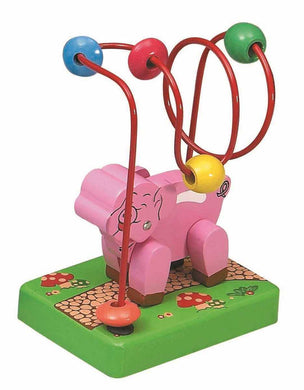Mini Wooden Bead Maze Roller Coaster - Pig