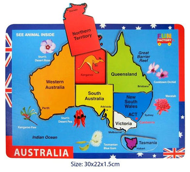 Fun Factory - Raised Wooden Puzzle -  Australia Map
