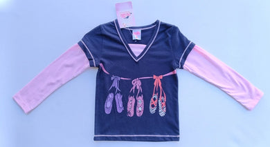 Girls Long Sleeves T-Shirt - Ballet Shoes print - Size 4