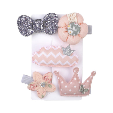 5 Pcs Kids Hair Clips (PASTEL CORAL Cloud)
