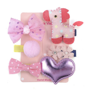 6 Pcs Kids Hair Clips (PINK horse)