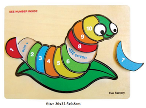 Fun Factory - Raised Wooden Puzzle Numbers -Silk Worm
