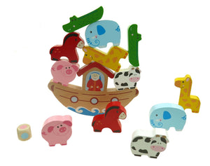 Wooden Noah's Ark Balancing Game in Tin Box