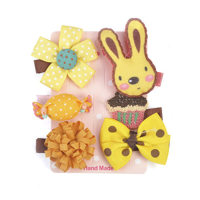 6 Pcs Kids Hair Clips (YELLOW rabbit)