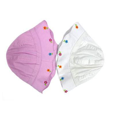 Girls Sun Hat Flowers Pink or White