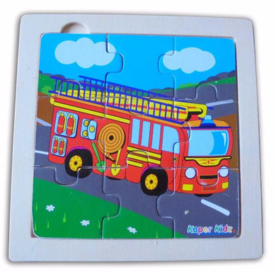 Kaper Kidz - 9 Pcs Wooden FIRE ENGINE Jigsaw Puzzle