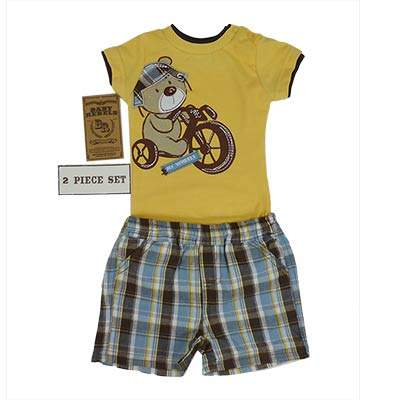 Baby Rebels - 2 Pieces Baby Bear on Bike print Set