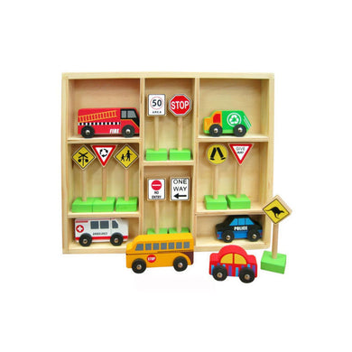 Fun Factory - Wooden Traffic Signs and Cars Set