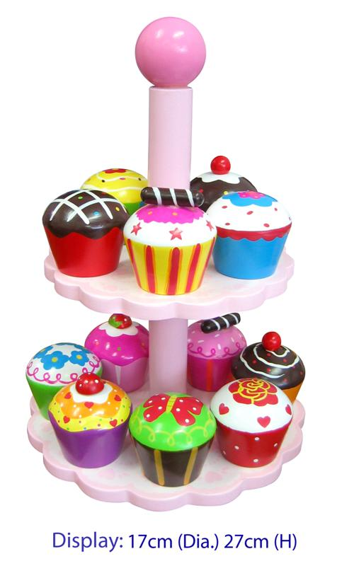 Fun Factory - 12 Pcs Wooden High Tea Cake Set / Cupcakes with Stand