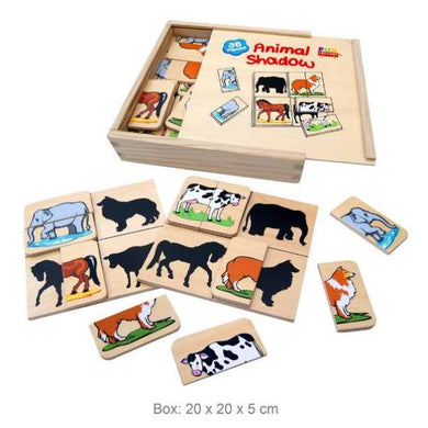 Fun Factory - 36 Pcs Wooden Matching Animal Shadow