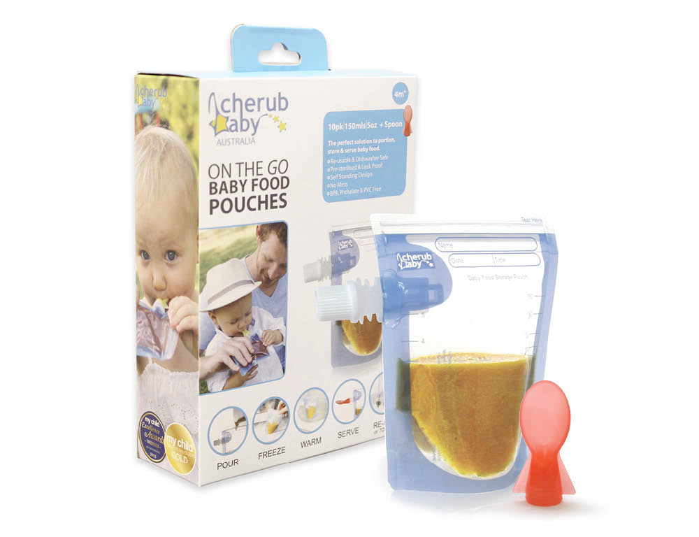 Cherub Baby - On the Go Baby Food Pouches Starter 10 pack - plus spoon
