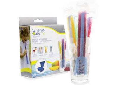 Cherub Baby - 20 Reusable Freeze n Squeeze Ice Pop Pouches  Bonus Funnel