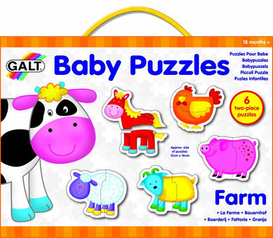 Galt - 6 Colourful 2-Piece Baby Puzzles FARM