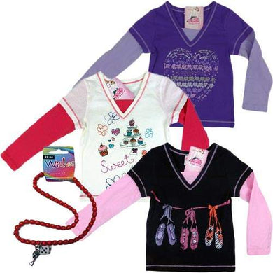 Girls Long Sleeves T-Shirt with FREE necklace