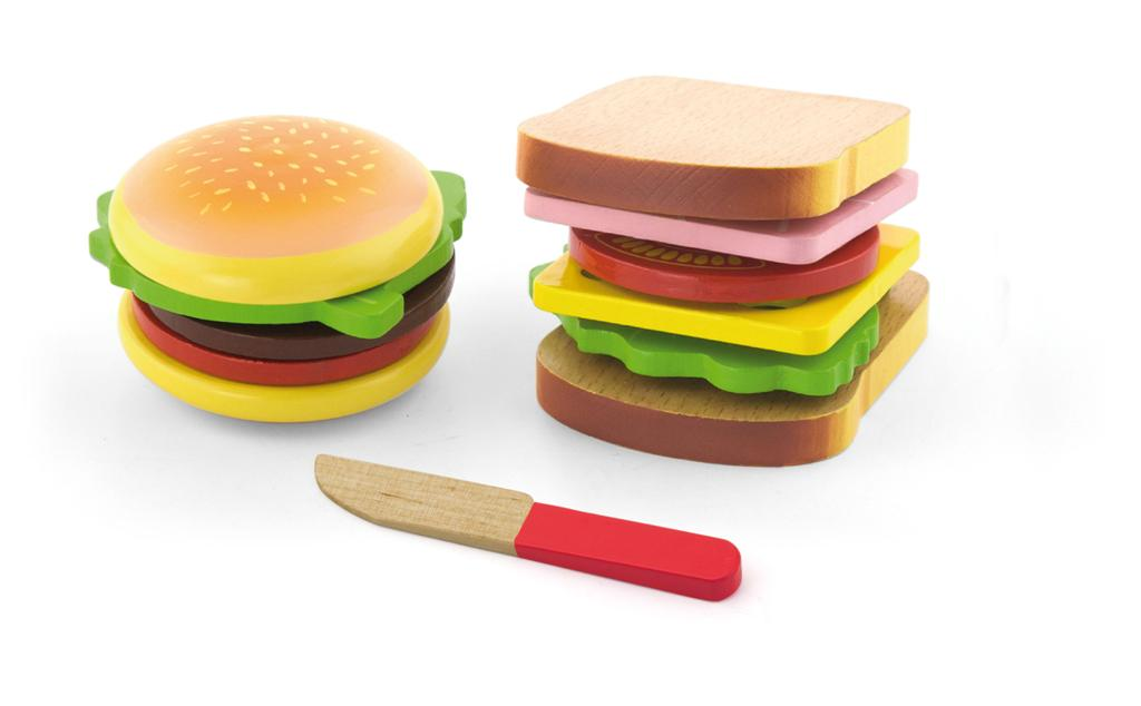 Viga - Wooden Hamburger & Sandwich Set