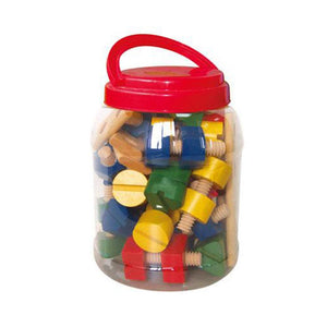 Fun Factory - 56 Pcs Wooden Nuts and Bots in a Jar