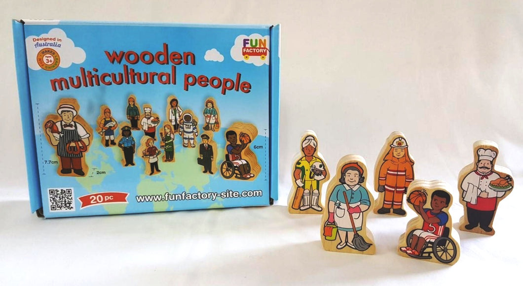 Fun Factory - 20 Pcs Wooden Multicultural People