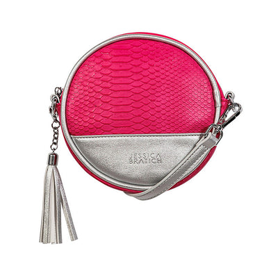 Round Kids Fashion Sling Bag - Rubika Snake Pink / Silver By Jessica Bratich