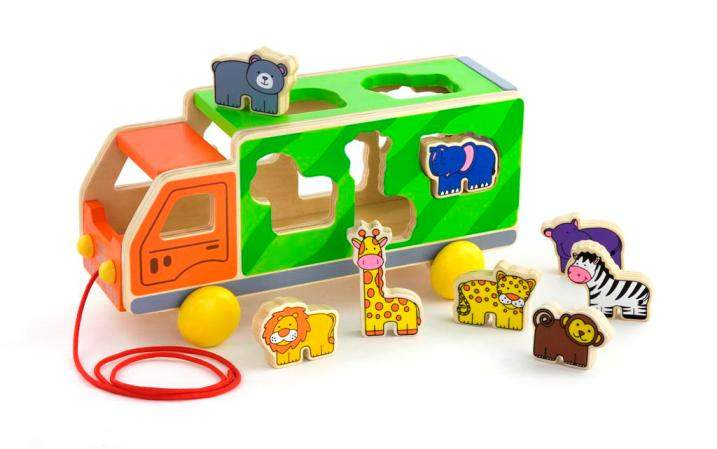 Viga Toys - Wooden Pull Along Animal Truck / Shape Sorter