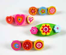 4 Pcs Wooden Kids Hair Accessories with Barette Clips  (Pink Heart / Yellow Flower)