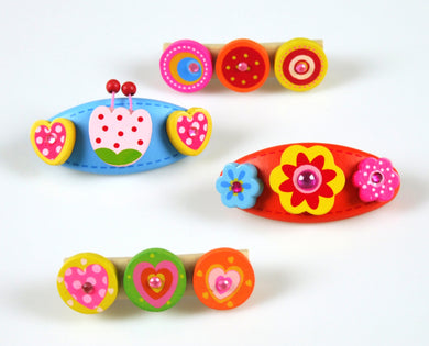 4 Pcs Wooden Kids Hair Accessories with Barette Clips  (Pink and Yellow Flower)