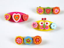 4 Pcs Wooden Kids Hair Accessories with Barette Clips  (Pink Heart and Butterfly)