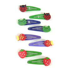 8 Pcs Kids Hair Clips: Strawberry, Ladybug, Fish and Frog