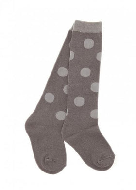 Skeanie Knee-hi Socks Grey Dots;  size 6-7 yrs