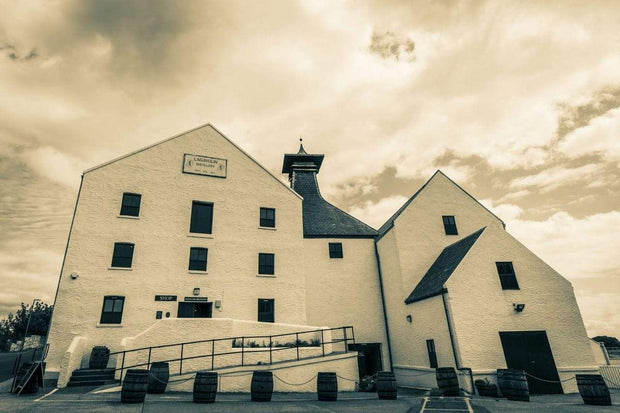 Lagavulin Distillery Golden Toned Fine Art Print by Wandering Spirits Global