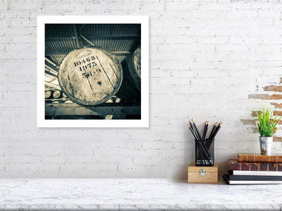 40.7 cm x 40.7 cm, 16.0 inches x 16.0 inches Glenlivet 1973 Cask Golden Toned Fine Art Print by Wandering Spirits Global
