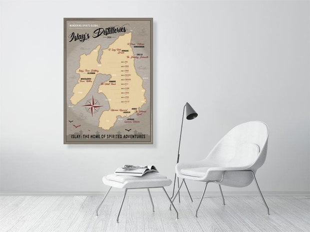 84.0 cm x 118.8 cm, 33.1 inches x 46.8 inches Islay Distilleries Map Dark Toned Fine Art Print by Wandering Spirits Global