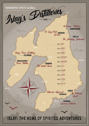 Islay Distilleries Map Dark Toned Fine Art Print by Wandering Spirits Global