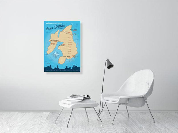 59.4 cm x 84.0 cm, 23.4 inches x 33.1 inches Islay Distilleries Map Blue Toned Fine Art Print by Wandering Spirits Global