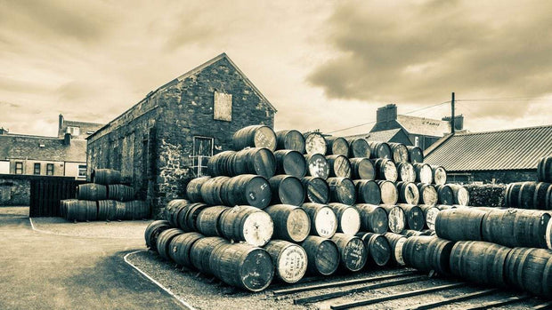 Empty Casks Glengyle Golden Toned Fine Art Print by Wandering Spirits Global