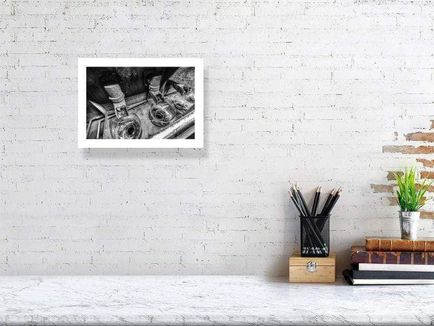 21.1 cm x 29.7 cm, 8.3 inches x 11.7 inches Low Wines Receiver Bowls Black and White Fine Art Print by Wandering Spirits Global