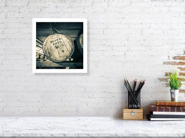 30.5 cm x 30.5 cm, 12.0 inches x 12.0 inches Glenlivet 1973 Cask Golden Toned Fine Art Print by Wandering Spirits Global
