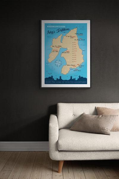 Islay Distilleries Map Blue Toned Fine Art Print by Wandering Spirits Global